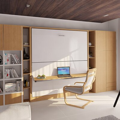 Kirk Twin Murphy Bed Color: Gloss White and Light Wood