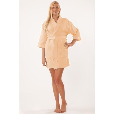 Antwan Waffle Kimono Robe Size: Adult - One Size, Color: Peach