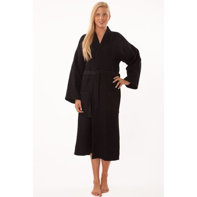 Antwan Waffle Kimono Robe Size: Adult - One Size, Color: Black