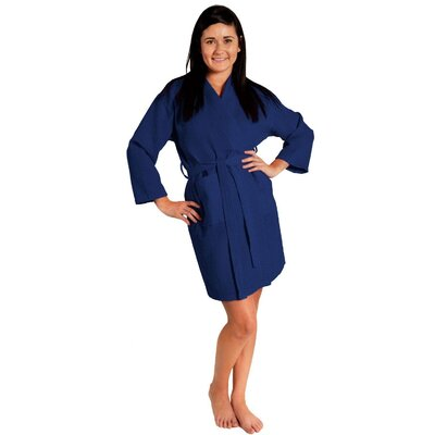 Antwan Waffle Kimono Robe Size: Adult - One Size, Color: Navy Blue