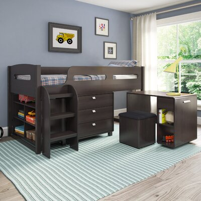 Deion Twin Loft Bed with Storage Color: Rich Espresso