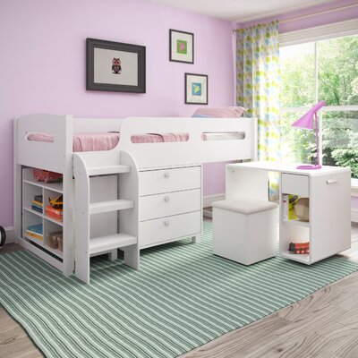 Deion Twin Loft Bed with Storage Color: Snow White