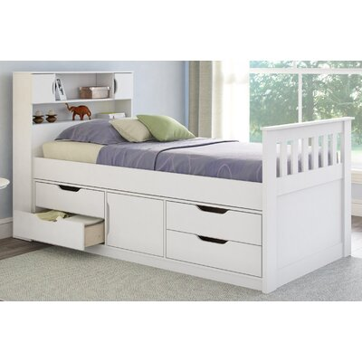 Deion Twin Captain Bed with Storage Color: Snow White