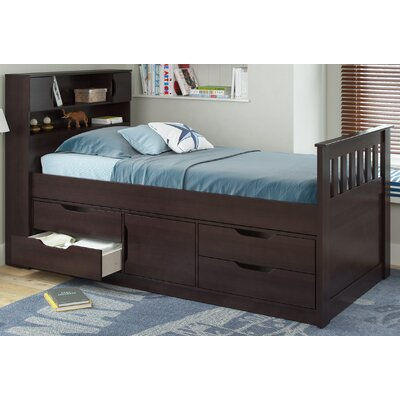 Deion Twin Mates & Captains Bed with Storage Color: Rich Espresso