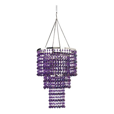 Kordell Triple Crown 1-Light Crystal Pendant Shade Color: Purple