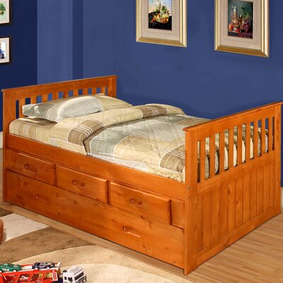 Kaitlyn Twin Slat Bed with Storage Configuration: 6 Drawers - 2 rows of 3, Finish: Honey