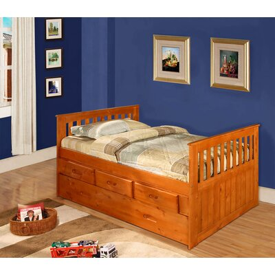 Kaitlyn Twin Slat Bed with Storage Configuration: 6 Drawers - 2 rows of 3, Color: Honey
