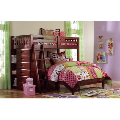 Kaitlyn L-Shaped Twin over Full  Bunk Bed Finish: Merlot