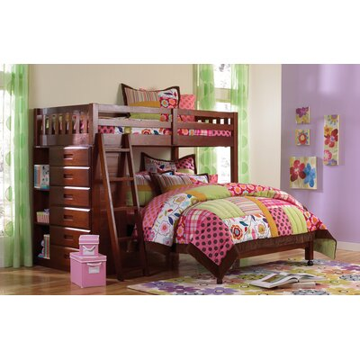 Kaitlyn L-Shaped Twin over Full  Bunk Bed Color: Merlot