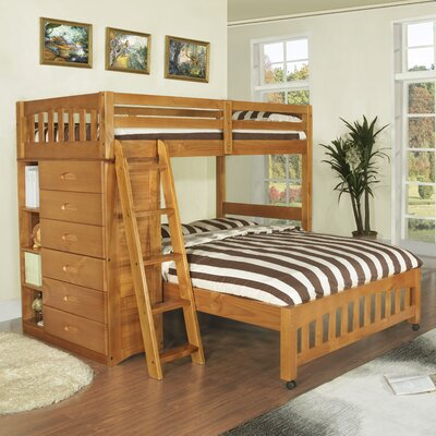 Kaitlyn L-Shaped Twin over Full  Bunk Bed Finish: Honey