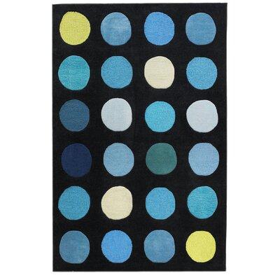 Kiara Hand-Tufted Blue/Black Area Rug Rug Size: 5 x 7