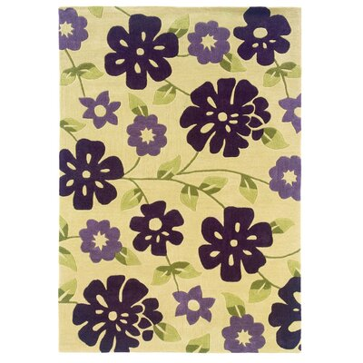 Ronnie Hand-Tufted Purple/Beige Area Rug Rug Size: Rectangle 8 x 10