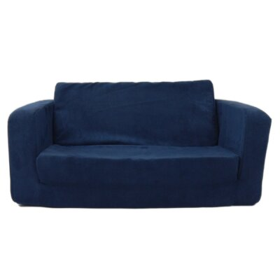Giancarlo Toddler Flip Kids Sofa Upholstery - Color: Micro Suede - Dark Blue VVRE1434 38064832