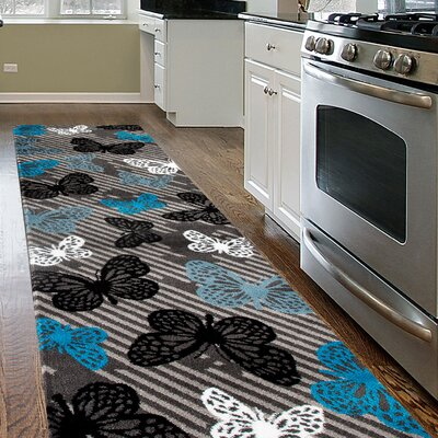 Paxton Gray/Blue Area Rug Rug Size: Runner 2 x 72