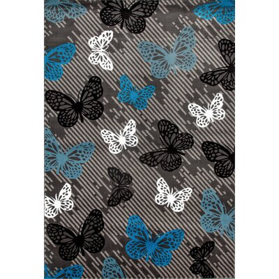 Katharine Gray/Blue Area Rug Rug Size: 53 x 73