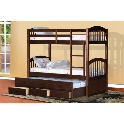 Kamryn Twin Bunk Bed with Trundle and Storage Finish: Espresso