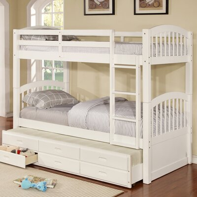 Kamryn Twin Bunk Bed with Trundle and Storage Finish: White