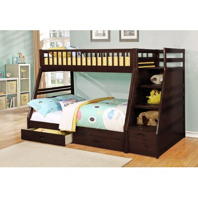 Pierre Twin over Full Bunk Bed with Storage Color: Espresso