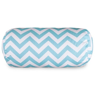 Aspen Chervon Cotton Bolster Pillow Color: Tiffany Blue
