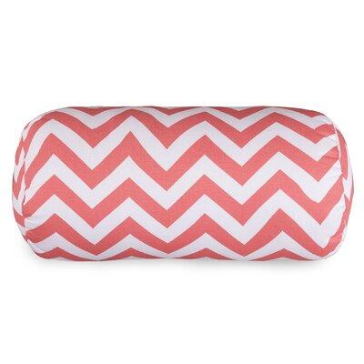 Aspen Chervon Cotton Bolster Pillow Color: Coral