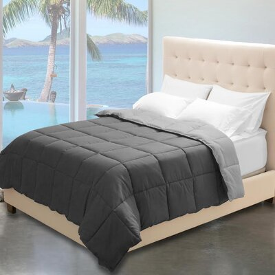 Karlie Reversible Comforter Color: Gray/Light Gray, Size: Twin XL