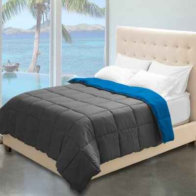 Karlie Reversible Comforter Color: Gray/Medium Blue, Size: Twin XL