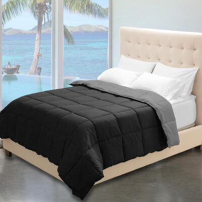Karlie Reversible Comforter Color: Black/Gray, Size: Twin XL