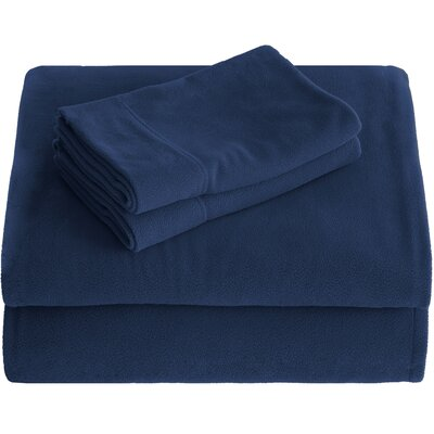 Karlie Cozy Micro Fleece Sheet Set Size: Split King, Color: Dark Blue