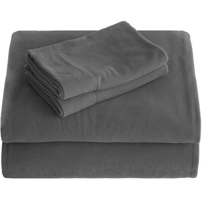 Karlie Cozy Micro Fleece Sheet Set Size: Split King, Color: Gray