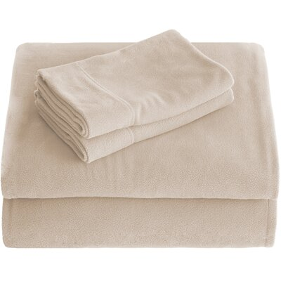 Karlie Cozy Micro Fleece Sheet Set Size: Split King, Color: Sand