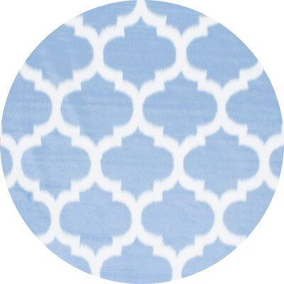 Rosemarie Faux Sheepskin Blue Area Rug Rug Size: Round 5
