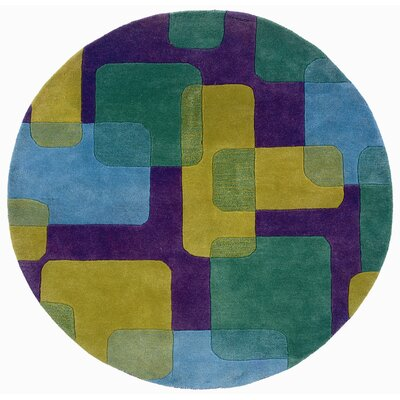 Leanne Purple Squares and Rectangles Rug Rug Size: Round 3