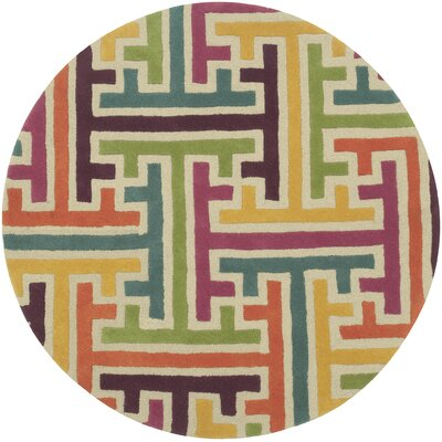 Leanne Geometric Puzzle Rug Rug Size: Round 5