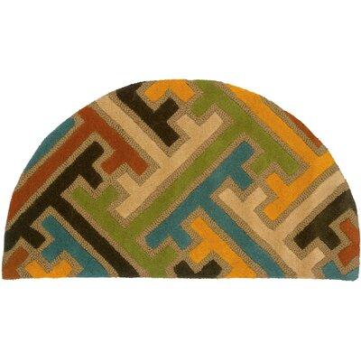 Leanne Geometric Puzzle Rug Rug Size: Half Moon 2 x 34