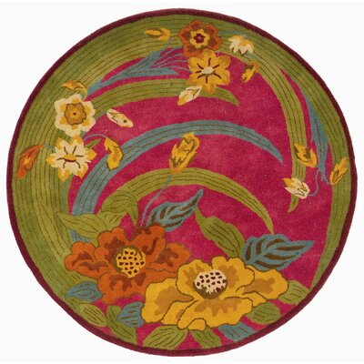 Leanne Pink Tropical Flowers & Leaves Rug Rug Size: Round 3