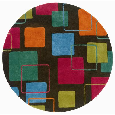 Ayana Grey Geometric Squares Rug Rug Size: Round 79