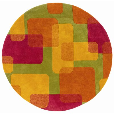 Leanne Lime Squares and Rectangles Rug Rug Size: Round 5