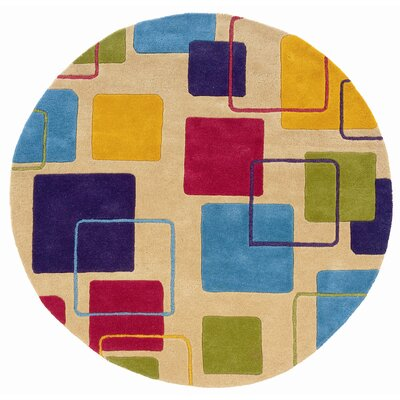 Leanne Ivory Geometric Squares Rug Rug Size: Round 5