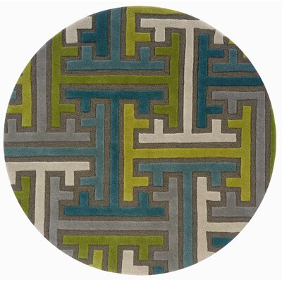 Leanne Hand-Woven Wool Green/Blue Area Rug Rug Size: Round 79