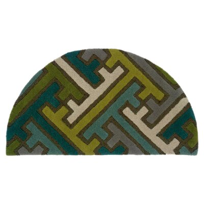 Leanne Hand-Woven Wool Green/Blue Area Rug Rug Size: Round 5
