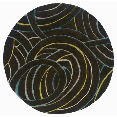 Leanne Black Swirls Rug Rug Size: Round 5