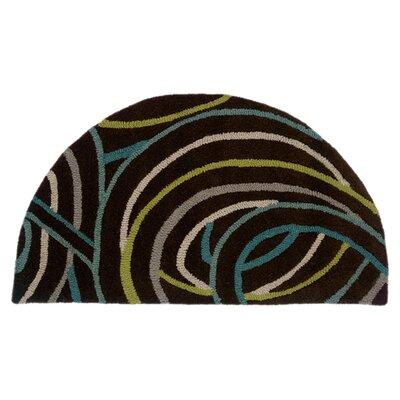 Leanne Black Swirls Rug Rug Size: Half Moon 2 x 34