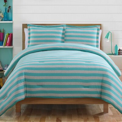 Heywood 2 Piece Comforter Set Size: Twin, Color: Aqua