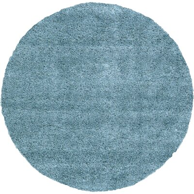 Evelyn Light Blue Area Rug Rug Size: Round 8