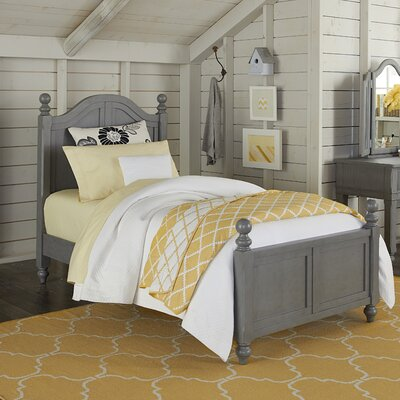 Javin Arch Ball Finials Panel Headboard and Footboard and Slats Size: Twin, Finish: Stone