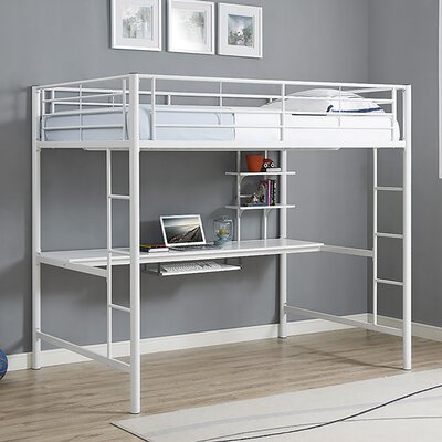 Maurice Full Loft Bed with Workstation Finish: White