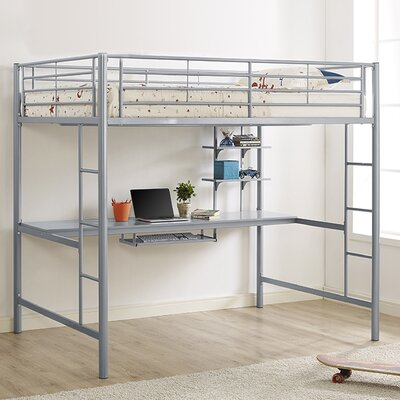 Maurice Full Loft Bed with Workstation Color: Silver
