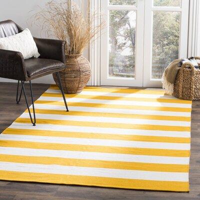 Ike Hand-Woven Yellow Area Rug Rug Size: 5 x 8