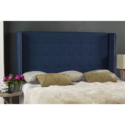 Keisha Upholstered Wingback Headboard Size: Queen, Upholstery: Steel Blue