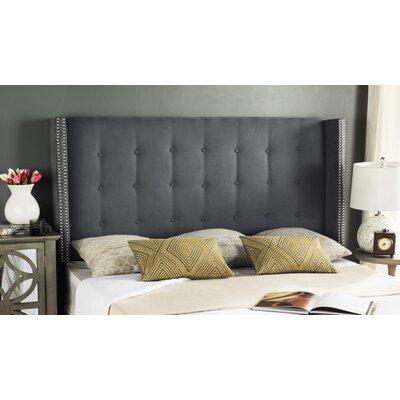 Keisha Upholstered Wingback Headboard Size: Twin, Upholstery: Grey Velvet